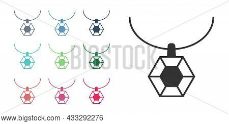 Black Pendant On Necklace Icon Isolated On White Background. Set Icons Colorful. Vector