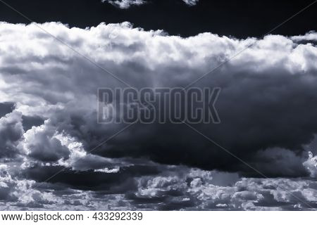 Cumulus Clouds In The Sky In Cloudy Weather. Abstract Background.