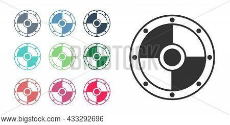 Black Round Wooden Shield Icon Isolated On White Background. Security, Safety, Protection, Privacy,