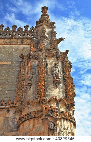 The medieval castle of the Knights Templar in the Portuguese town of Tomar. Superbly preserved decor corner columns poster