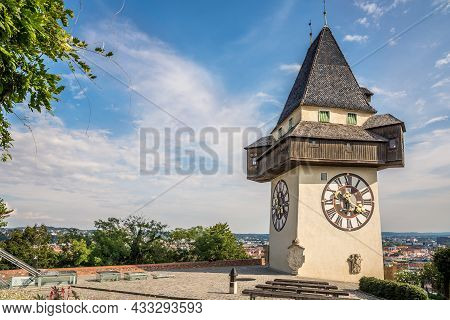 View At The Clock Tower Of Schlossberg Hill In Graz, Austria