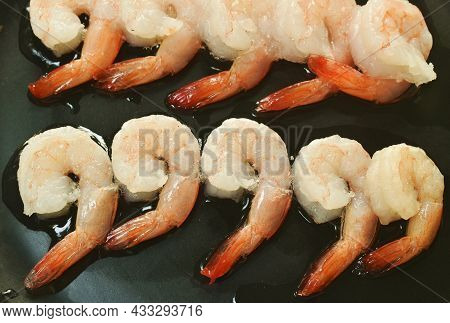 Raw Shrimp Food Ingredient Arranging On Plate