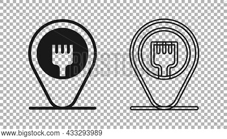 Black Cafe And Restaurant Location Icon Isolated On Transparent Background. Fork Eatery Sign Inside