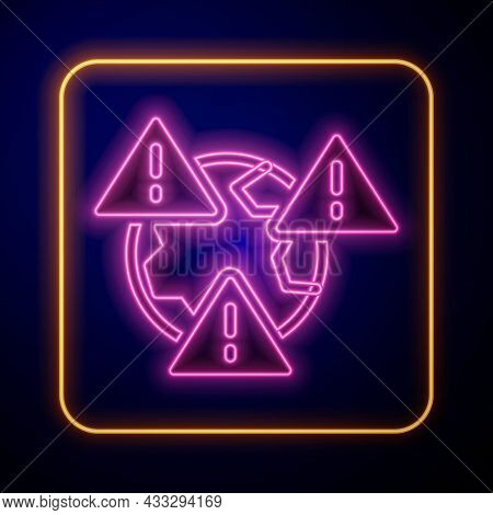 Glowing Neon Planet Earth Symbol With Exclamation Mark Icon Isolated On Black Background. Global Ear