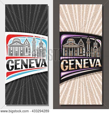 Vector Vertical Layouts For Geneva, Decorative Invitations With Line Illustration Of Geneva City Sca