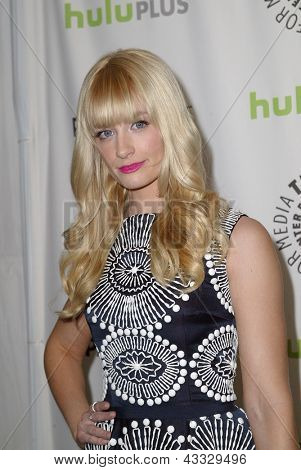 """BEVERLY HILLS - MARCH 14: Beth Behrs arrives at the 2013 Paleyfest """"Two Broke Girls"""" panel on Thursday, March 14, 2013 at the Saban Theater in Beverly Hills, CA."""