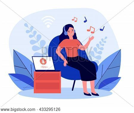 Woman Listening To Music From Laptop In Wireless Headphones. Girl In Chair Using Music Service Flat