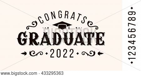 Congratulations Graduate In Vintage Style. Design Of Greeting Card In Victorian Style. Vector Illust