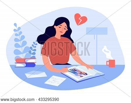 Sad Cartoon Woman Looking At Picture In Photo Album. Photo Of Happy Husband And Wife With Children F