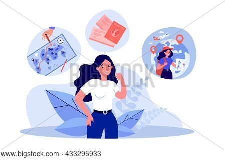 Female Traveler Cartoon Character Planning Trip. Woman With Backpack And Map, Tickets And Passport F