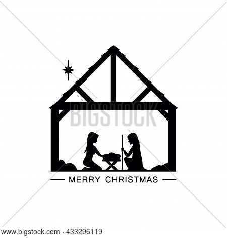 Joseph And Mary In The Manger Near The Birth Of Jesus. Black Icon On A White Background.