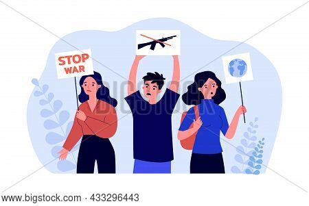 Cartoon Activists With Placards Protesting Against War. People At Demonstration Against Violence Fla