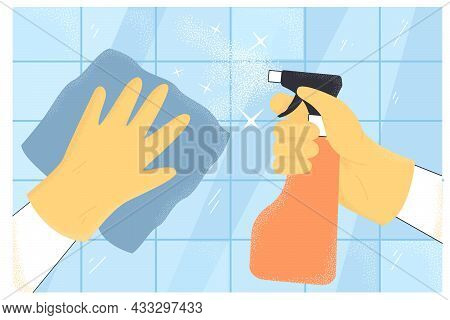 Hands Of Cartoon Person Cleaning Kitchen Or Bathroom Surfaces. Person In Rubber Gloves Holding Spray