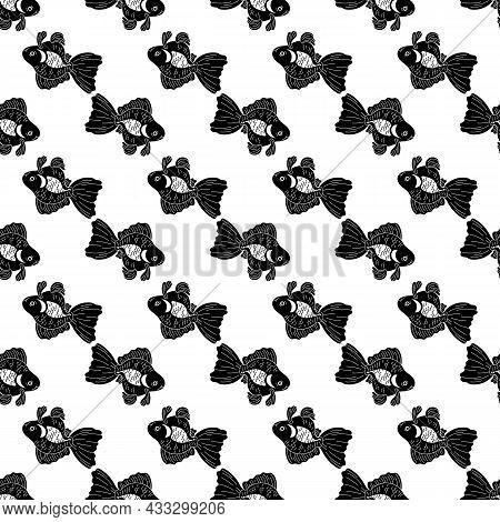 Goldfish Pattern Seamless Background Texture Repeat Wallpaper Geometric Vector