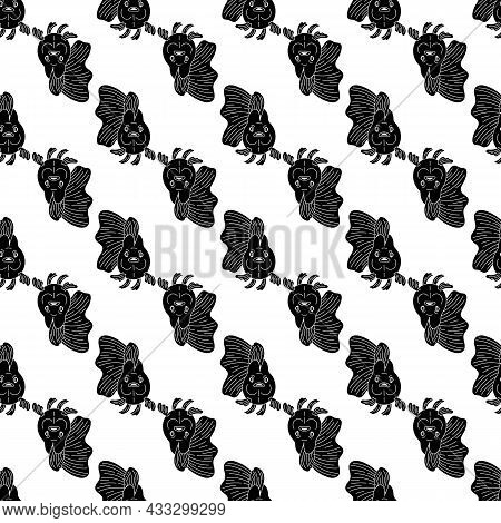 Front Of Goldfish Pattern Seamless Background Texture Repeat Wallpaper Geometric Vector