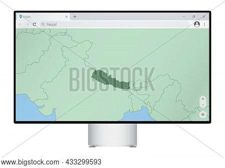 Computer Monitor With Map Of Nepal In Browser, Search For The Country Of Nepal On The Web Mapping Pr