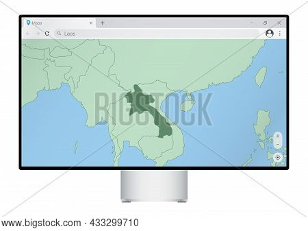 Computer Monitor With Map Of Laos In Browser, Search For The Country Of Laos On The Web Mapping Prog