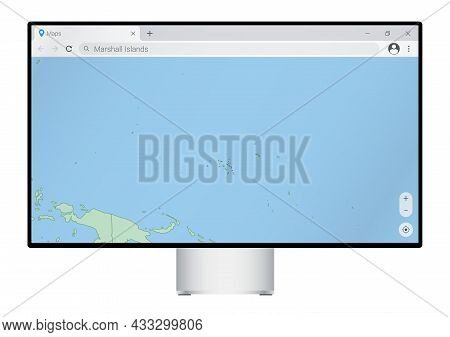 Computer Monitor With Map Of Marshall Islands In Browser, Search For The Country Of Marshall Islands
