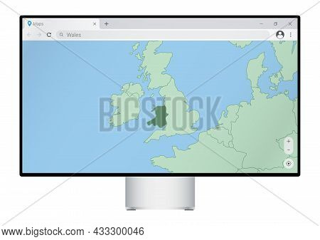 Computer Monitor With Map Of Wales In Browser, Search For The Country Of Wales On The Web Mapping Pr