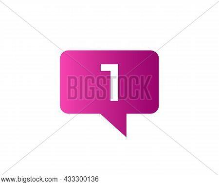 Chat Logo On 1 Letter Concept. Letter 1 Chat Logo. Letter 1 Communication Logo Design Template