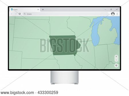 Computer Monitor With Map Of Iowa In Browser, Search For The Country Of Iowa On The Web Mapping Prog