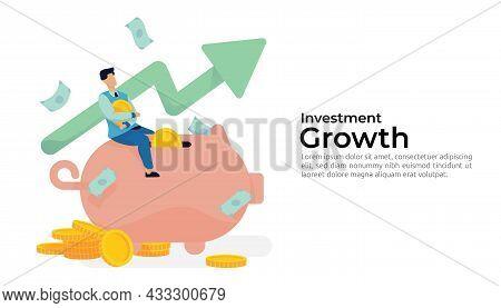 Investment And Saving Increase With People Character Riding Huge Giant Pig Piggy Bank, Money Coin An