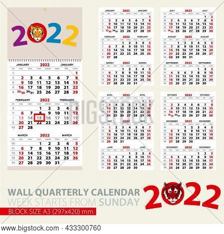 Print Template Of Wall Quarterly Calendar For 2022 Year. Year Of The Tiger. Week Starts From Sunday.