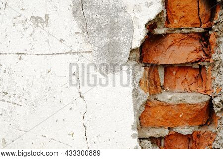 The Blank Background And Texture Is An Old Red Brick Street Wall.the Worn Facade Of The Building Wit