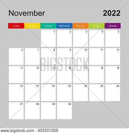 Calendar Page For November 2022, Wall Planner With Colorful Design. Week Starts On Sunday. Vector Ca
