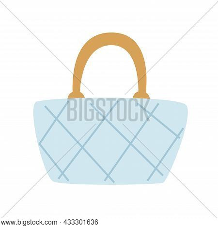 Blue Women Quilted Bag, With A Gold Handle. Simple Flat Vector Illustration Isolated On White Backgr