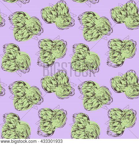 Seamless Pattern Of Artichoke. Drawing Line Art Artichoke Healthy Plant. Organic Seasonal Vegetable