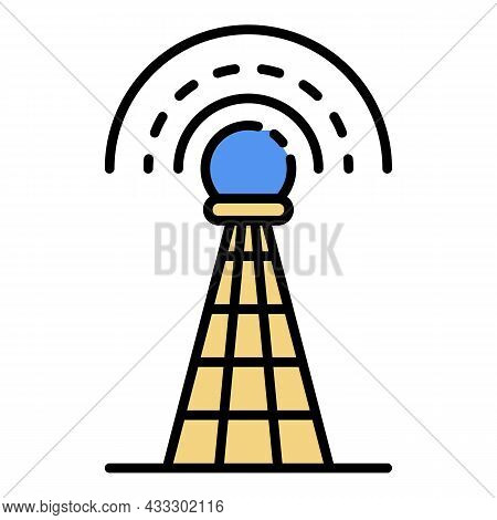 Signal Tower Icon. Outline Signal Tower Vector Icon Color Flat Isolated