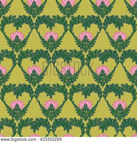Pink Hand Drawn Stylized Lotus Flower Seamless Pattern. Bohemian Style Pencil Drawing Design Element