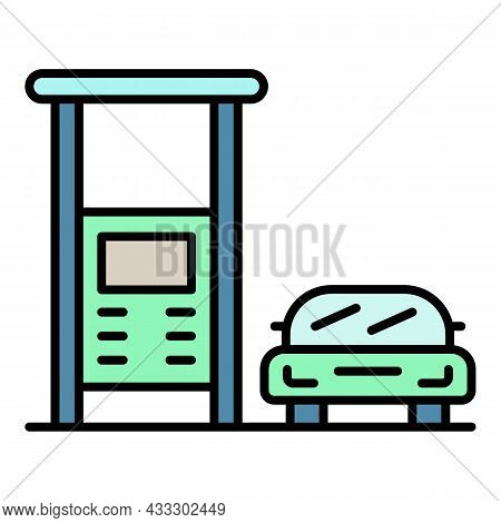 Car Gas Station Icon. Outline Car Gas Station Vector Icon Color Flat Isolated