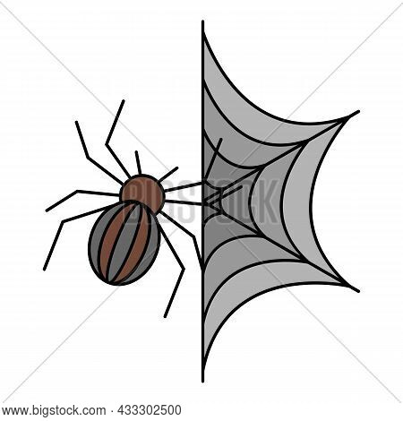 Spider On Web Icon. Outline Spider On Web Vector Icon Color Flat Isolated
