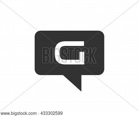 Chat Logo On G Letter Concept. Letter G Chat Logo. G Letter With Speech Bubble Logo. Letter G Commun