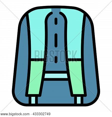 Back Of Backpack Icon. Outline Back Of Backpack Vector Icon Color Flat Isolated