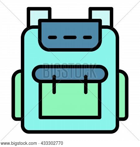 Student Backpack Icon. Outline Student Backpack Vector Icon Color Flat Isolated