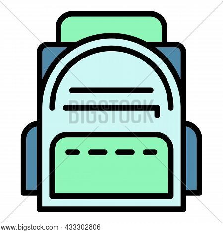 Kid Backpack Icon. Outline Kid Backpack Vector Icon Color Flat Isolated