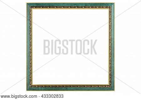 Green Classic Old Vintage Wooden Mockup Canvas Frame Isolated On White Background. Blank Beautiful A