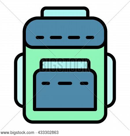 Textile Backpack Icon. Outline Textile Backpack Vector Icon Color Flat Isolated