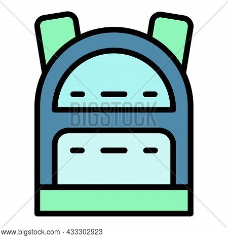 Tourism Backpack Icon. Outline Tourism Backpack Vector Icon Color Flat Isolated