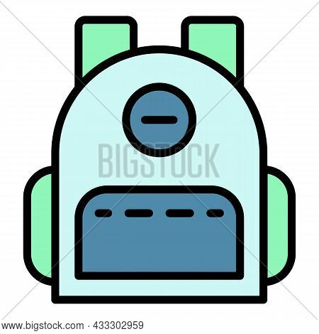 Fashion Backpack Icon. Outline Fashion Backpack Vector Icon Color Flat Isolated