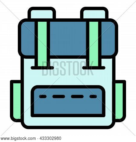 Military Backpack Icon. Outline Military Backpack Vector Icon Color Flat Isolated