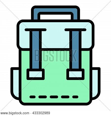 Classic Backpack Icon. Outline Classic Backpack Vector Icon Color Flat Isolated