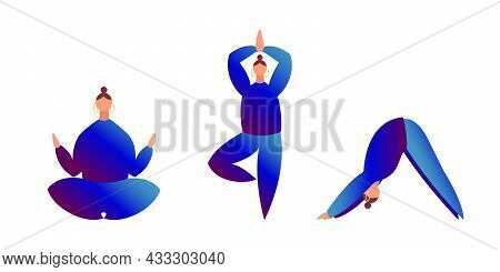 Set Of Three Women In Blue Clothes Do Yoga Isolated On White. Lotus, Tree, Downward Facing Dog Posit