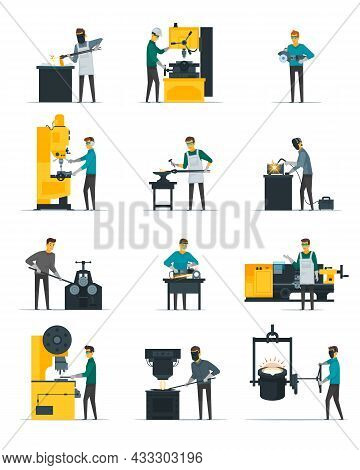 Blacksmith At Work Flat Icons Set With Metal Melting Casting Forging And Hammering On Anvil Isolated