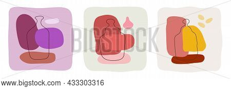 Tequila Liquor Wine Bottle On Abstract Background. Hand Drawn Doodle Various Shapes, Spots. Contempo