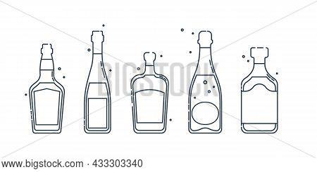 Bottle Whiskey Wine Liquor Champagne Rum Line Art In Flat Style. Restaurant Alcoholic Illustration F