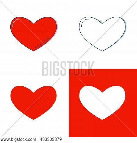 Linear Red Shape Heart On A White Background. Modern Illustration With Reflection And Shadow. Simple